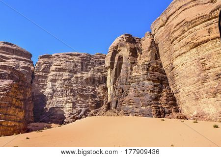 Sand Dune Barrah Siq Wadi Rum Valley of the Moon Jordan. Inhabited by humans since prehistoric times place where TE Lawrence of Arabia in the early 1900s