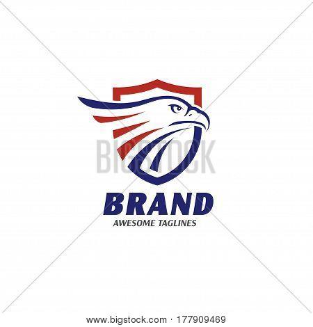 eagle heads with shields logo . creative falcon head logotype with shield , eagle head  illustration