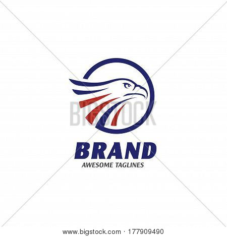 eagle heads with circle logo . creative falcon head logotype with elips, eagle head  illustration