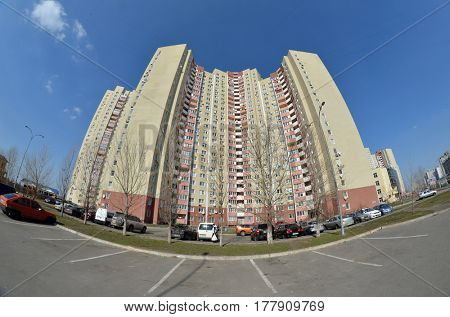 Tipical modern residential area. A recently built block of apartments.March 22 ,2017 in Kiev, Ukraine
