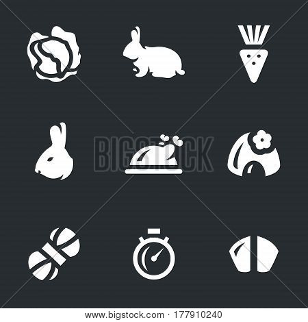 Cabbage, hare, carrot, head, dishes, burrow, yarn, stopwatch, teeth.