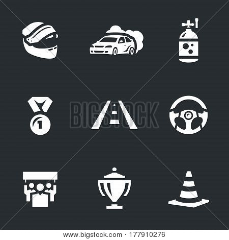 Helmet, car, nitro, medal, track, steering wheel, fans, cup, road cone.