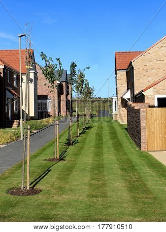 EASTFIELD, SCARBOROUGH, NORTH YORKSHIRE, ENGLAND - 10th of October 2016: New build housing estate pictureed in Scarborough on 10th October 2016. Exterior of new houses.
