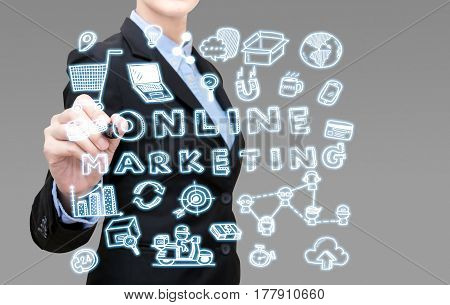 Young Smart Business Woman Writing Online Marketing Idea Concept Present By Icon Symbol Element. Ele