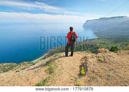 Man in mountain. Conceptual design.