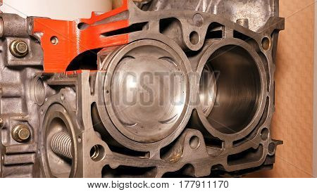 Car boxer opposite gas engine motor closeup