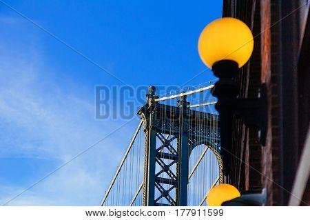 Manhattan bridge in the blue shade New York