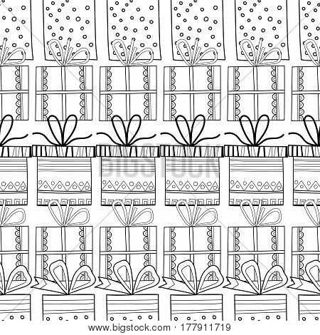 Black and white seamless patterns with gift boxes for coloring book, page. Festive background