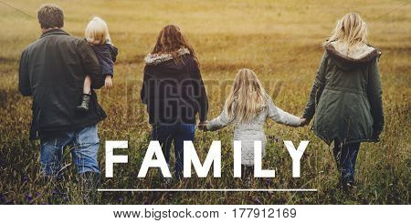 Family Together Outdoors Field Landscape