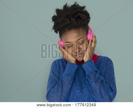 African Descent Female Headphones Smiling