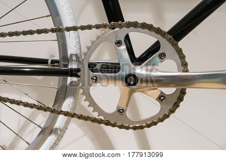 Closed Up of Bicycle Chain Rings on White Wall