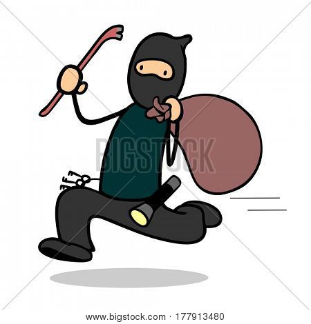 Cartoon housebreaker or burglar with crowbar running during escape