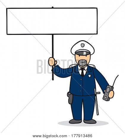 Cartoon policeman or cop holding up empty white sign