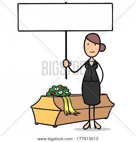 Cartoon woman as undertaker with coffin holding blank white sign