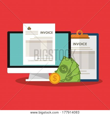 invoice economy related icons image vector illustration design