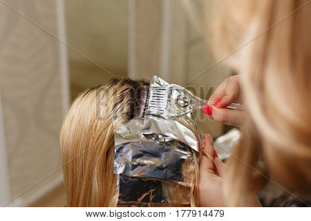 Professional hairdresser holds client's hair coloring. Lightening of the roots of hair. Beauty saloon.