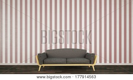 Wall with striped wallpaper and sofa in living room (3D Rendering)