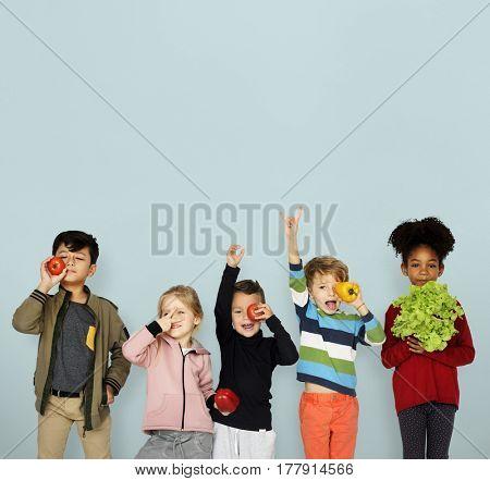 Little Children Holding Vegetable Healthy