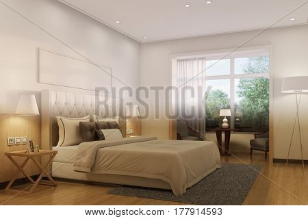 Change of night and day in hotel room or bedroom (3D Rendering)