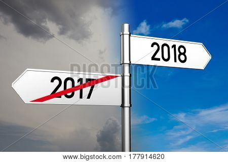 Fingerpost pointing to year 2018 with blue sky (3D Rendering)