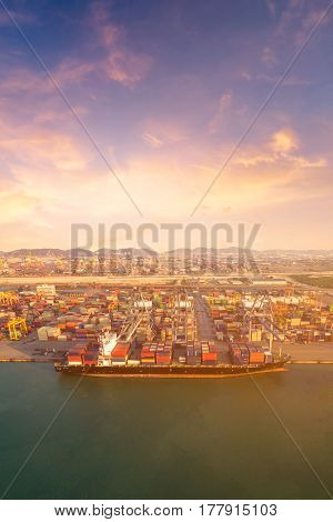 Large container shipping boat at shipping yard main transportation of cargo container shipping. Photo concept for Global business containers shippingLogisticImport and Export industry
