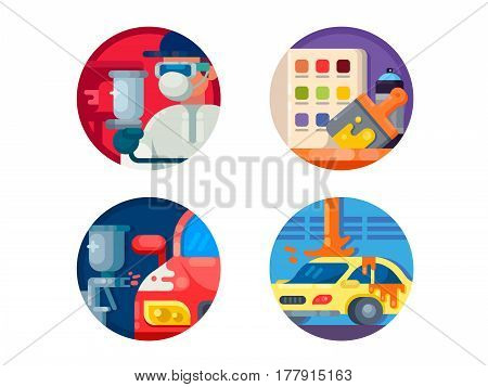 Auto painting set icons. Change color of machine. Vector illustration. Pixel perfect icons size - 128 px