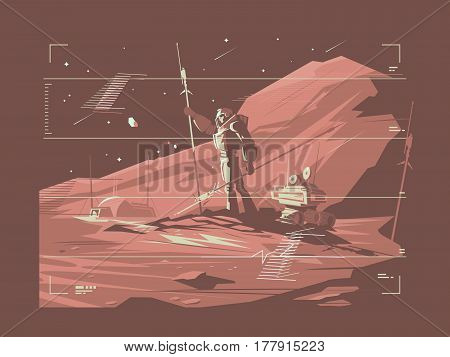 Human life on surface of planet Mars. Martian Life. Vector illustration