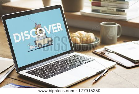 Illustration of discovery journey road trip traveling on laptop