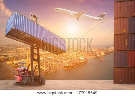 Logistics and transportation of Container Cargo ship Cargo plane and Forklift truck work in shipping yard. Photo concept for global business containers shippingLogisticImport and Export industry