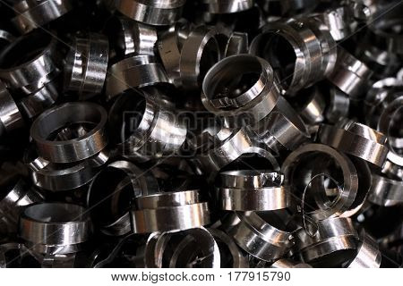 made group of spare parts from milling machine in manufactory