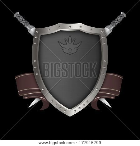 Medieval silver shield with riveted borderred ribbon and two swords on black background.