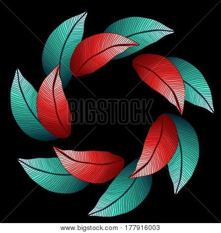 Vector round pattern with two lines of colored red and blue leaves on black background. Symmetry circle. Foliage.