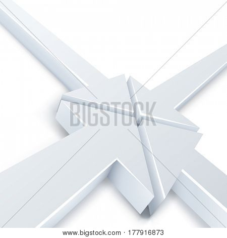 Abstract 4 white arrows meeting in one point concept. Business background. Raster copy.