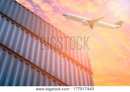 Logistics And Transportation Of Cargo Plane In Shipping Yard. Photo Concept For Global Business Cont