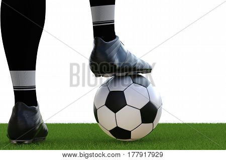 Soccer Player Standing With Soccer Ball