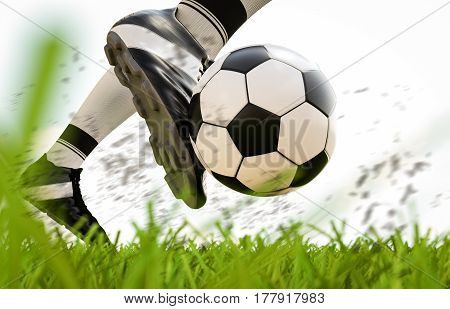 Soccer Player Kicking Soccer Ball In Motion