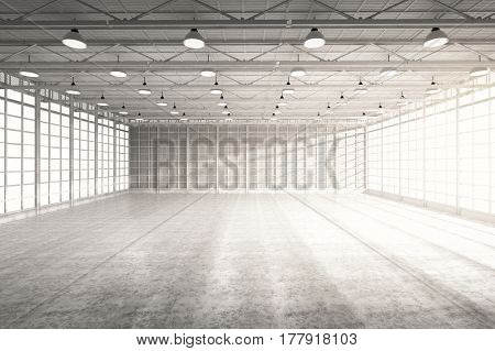 3d rendering interior empty factory with lamps