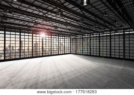 3d rendering empty factory interior or factory inside