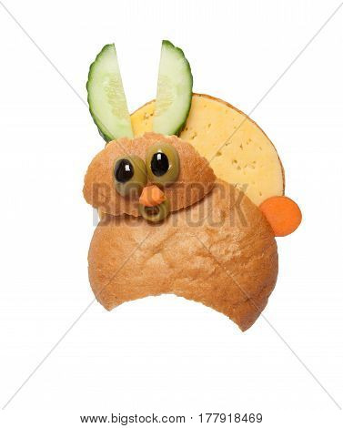 Surprised hare made of bread and cheese on white background