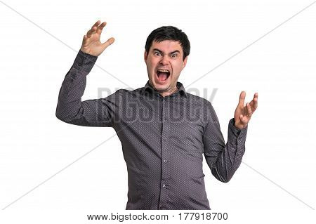 Angry And Screaming Man Isolated On White