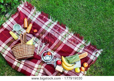 Basket Setting Food Fruit Checkered Plaid Picnic Grass