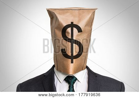 Businessman With A Bag On The Head - With Dollar Sign
