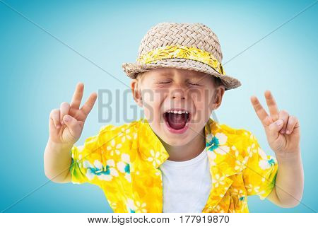 Child Shouts Hawaiian Shirt Straw Hatnisolated Blue