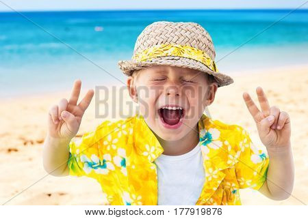 Child Laughs Holidays Clothes Isolated Natural Sea