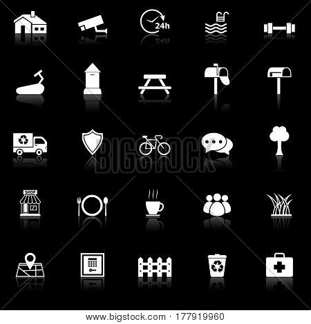 Village icons with reflect on black background, stock vector