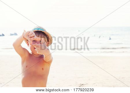 Boy Make Picture Frame Photography Hands