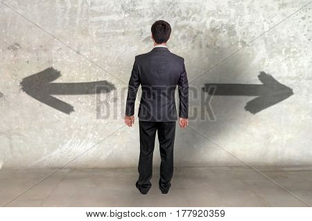 Businessman Between Two Different Choices