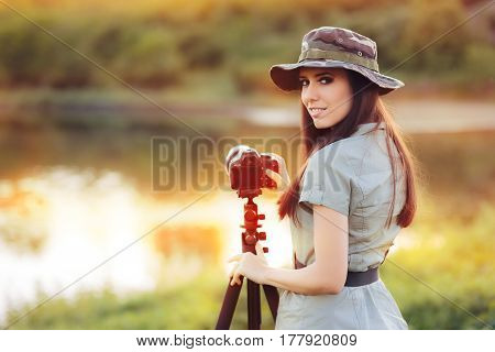 Landscape Photographer with Camera on a Tripod