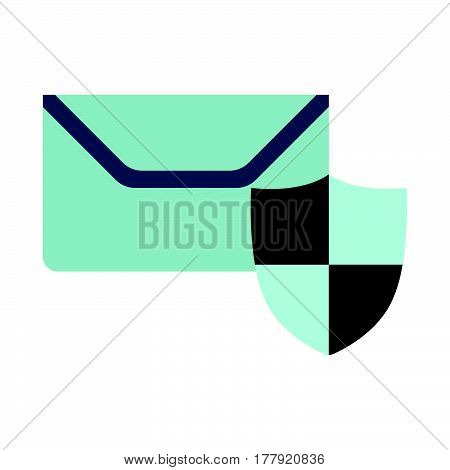 Mail On Protect Icon. Flat Vector Illustration On White Background.