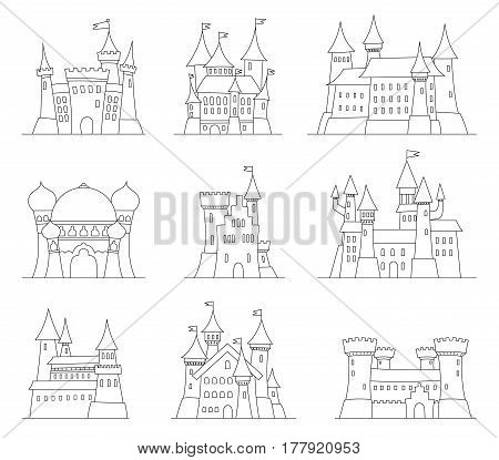 Castles and fortresses flat design vector icons. Set of illustrations of ruins, mansions, palaces, villas and other medieval buildings. Adult coliring book. Fairy-tale castle